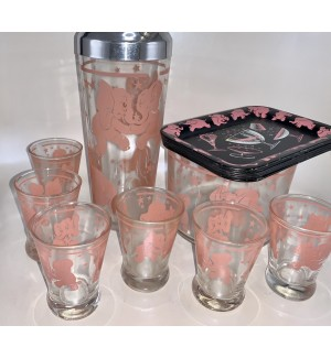 Dancing Pink Elephant Cocktail Shaker set