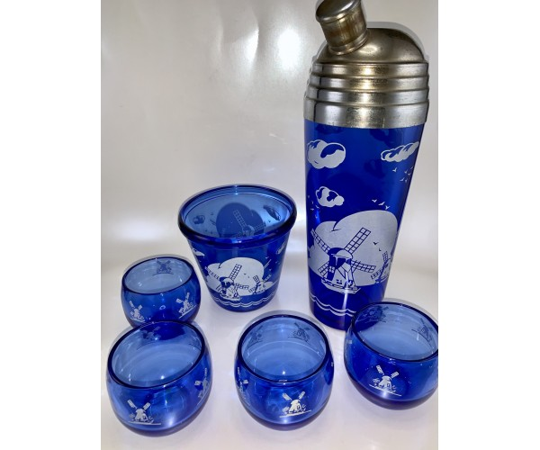 Vintage Hazel Atlas Cobalt Blue Windmill Cocktail Shaker Set