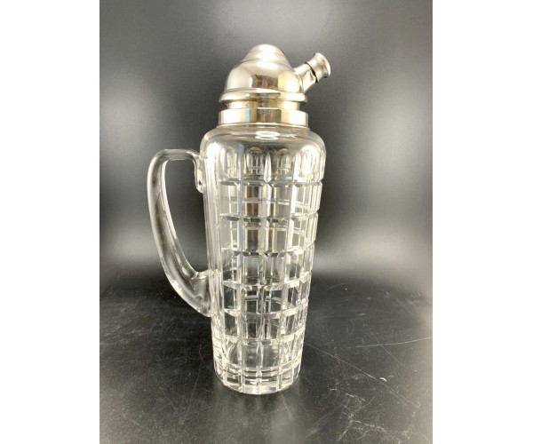 Huge Vintage Hawkes Glass Company Sterling Silver and Crystal Cut Glass Cocktail Shaker