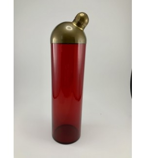 Fostoria Brass Dome Topped Ruby Cocktail Shaker