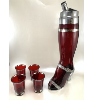 West Virginia Glass Ruby Lady's Leg Cocktail Shaker set