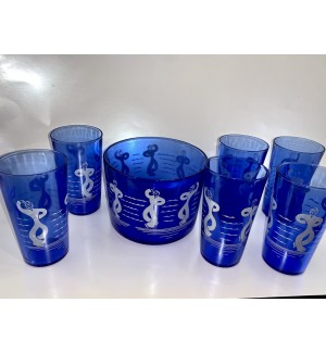 "Ca 1930s Hazel Atlas ""Dancing Sailors"" Cocktail set"