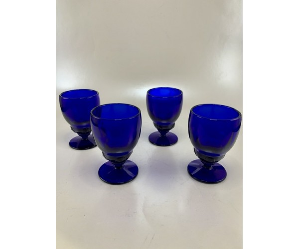 Four Vintage Cobalt Blue Moondrops Glasses