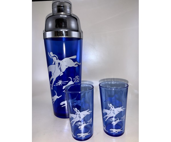 Vintage Hazel Atlas Cobalt Blue Fox Hunt Cocktail Shaker Set