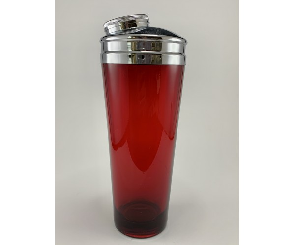 Ruby Red Cocktail Shaker With Extra Wide Strainer for Fast Pour