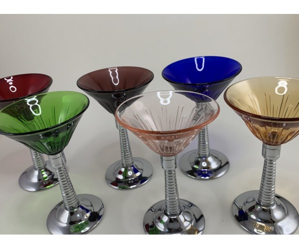 Six Colorful Cocktail Martini Glasses with Chrome Stems