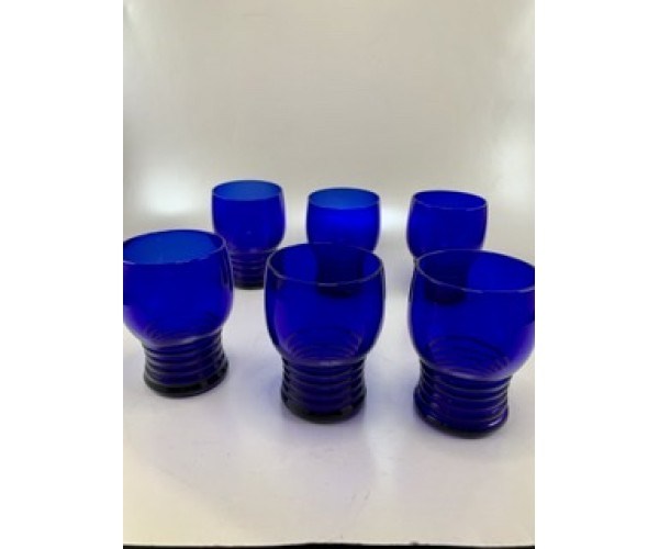 Six Cobalt Blue Imperial Glass Cocktail Cups