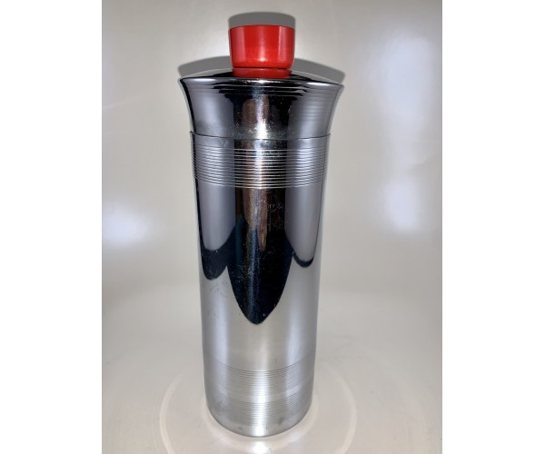 "Bruce Hunt Cocktail Shaker with Red ""Bakelite"" Cap"