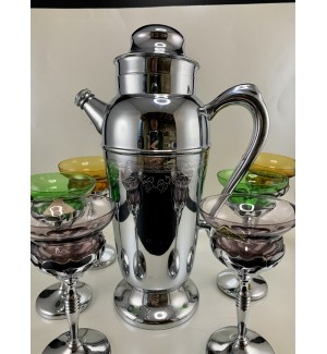 Mint Vintage Morgantown Chrome and Glass Cocktail Shaker set
