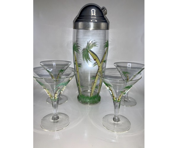 Vintage Palm Tree Scene Cocktail Shaker set