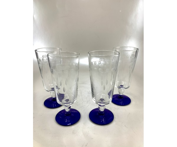 Beautiful Cut Glass Cobalt Stemmed Four Glass Set