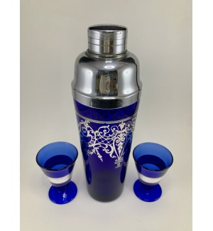 Beautiful Cobalt Blue and Sterling Silver Cocktail Shaker set
