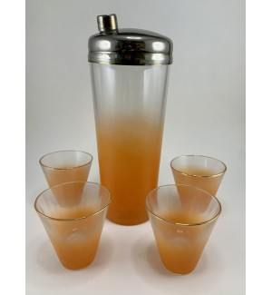 Vintage Imperial Glass Frosted Orange Cocktail Shaker set