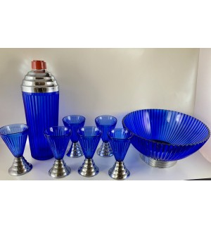 Gorgeous Cobalt Blue Ridged Glass Cocktail Shaker set