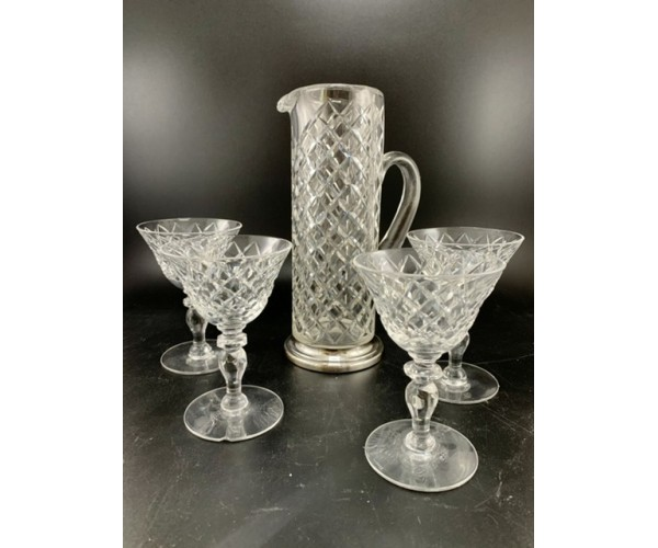Hawkes  Glass Cocktail Mixer set with Sterling Silver Base