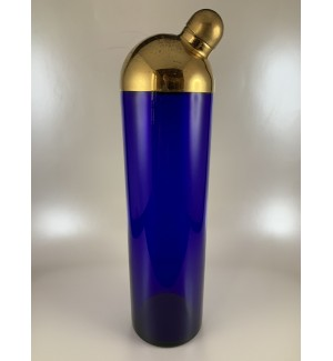 Fostoria Brass Dome Topped Cobalt Blue Cocktail Shaker