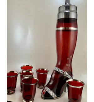 Ruby Glass Lady's  Leg Cocktail Shaker set