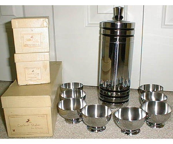 Chase Black Banded Gaiety Cocktail Shaker set in Original Boxes
