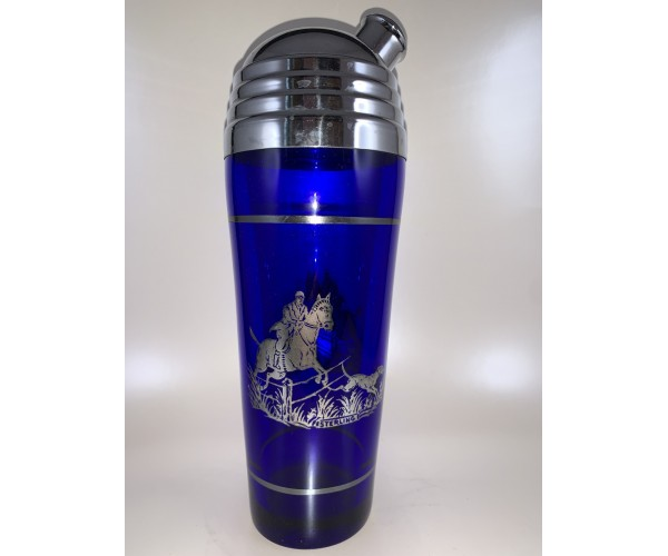 Sterling Overlay Cobalt Cocktail Shaker