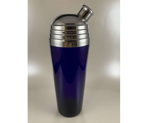 Deep Cobalt Blue Cocktail Shaker with Domed Top