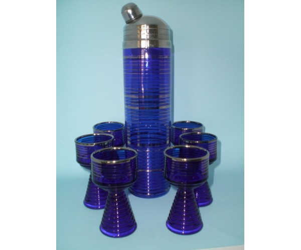 Cobalt Blue Skyscraper Cocktail Shaker set