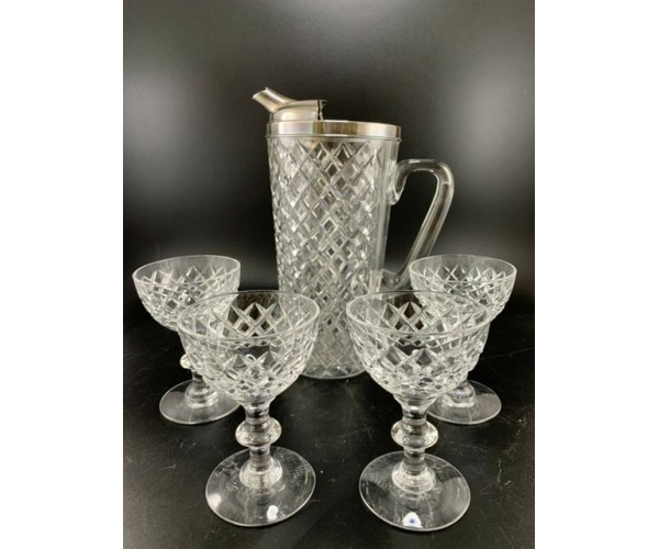 Hawkers Glass Cocktail Mixer set with Silver Plated Top