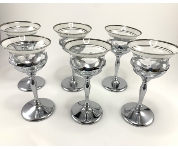 Six Farber Bros. Fluted Silver and Frosted Glass Cocktail Glasses