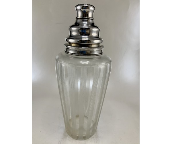 Hawkes Glass Etched Lines Cocktail Shaker with Handle