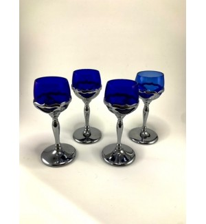 Four Farber Brothers Cobalt Blue Cocktail Glasses