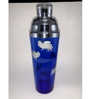Cobalt Blue Cocktail Shaker With White Roosters