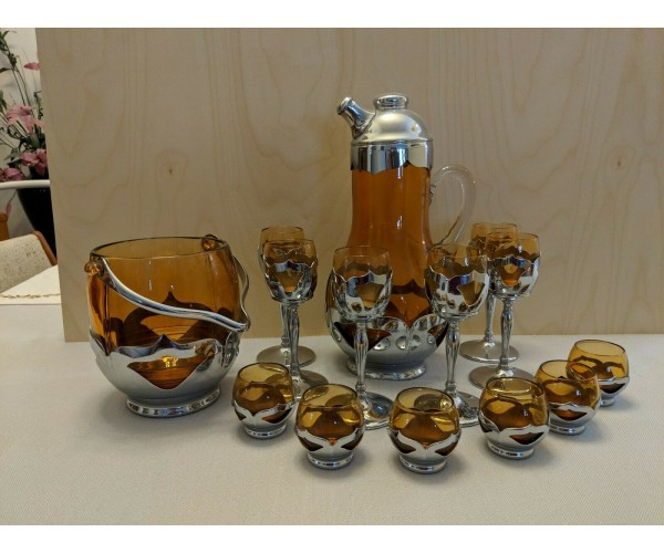 Very Rare Amber Farber Bros Cocktail Shaker Set
