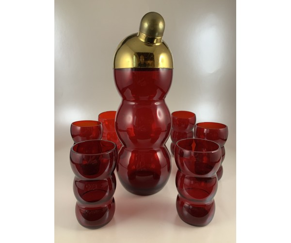 Fostoria Brass Dome Topped Ruby Short  Bubble Shaped Cocktail Shaker set