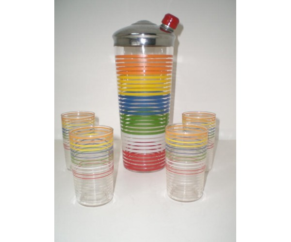 Hazel Atlas Striped Colorful Cocktail Shaker set
