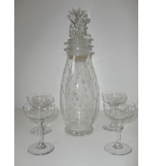 Rooster head Heisey cocktail shakers set