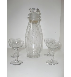Heisey Glass Cut Glass Shooting Stars Cocktail Shaker Set