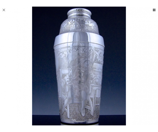 EXTREMELY RARE 1900 TIFFANY & Co STERLING SILVER DEEPLY ETCHED FIGURAL COCKTAIL SHAKER