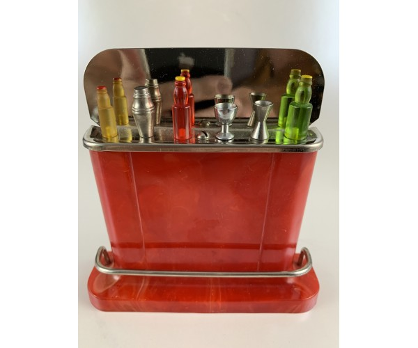 Take-Your-Pik Vintage Red Bakelite Cocktail Bar Picks and Bar in Original Box