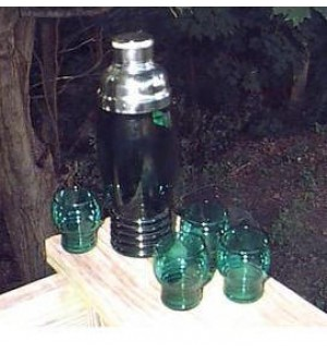 Imperial Glass Company Green Cocktail Shaker set