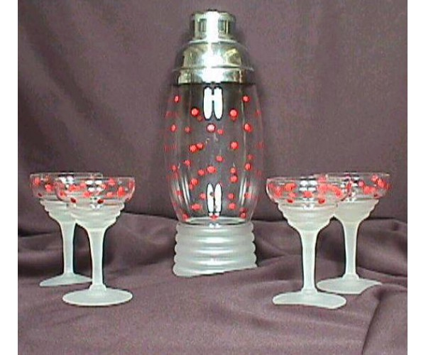Imperial Glass Company Polka Dotted Cocktail Shaker set