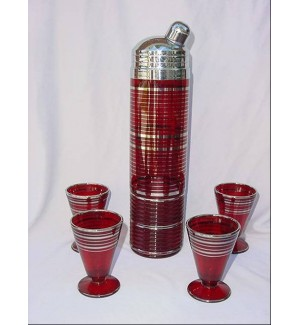 Ruby Red Skyscraper Cocktail Shaker Set.