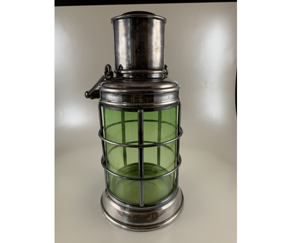 Asprey Ships Lantern Starboard Cocktail Shaker Green Glass