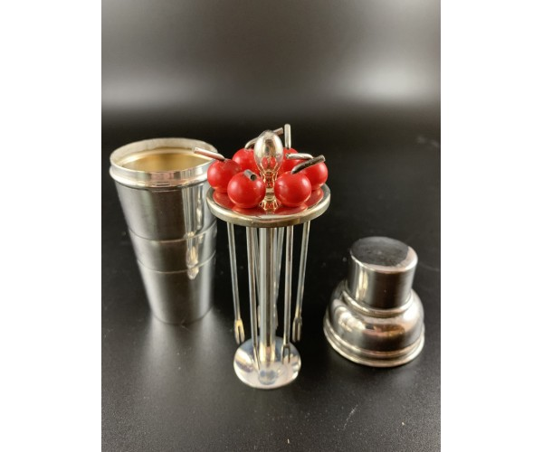 Red Top Cocktail Picks in miniature Cocktail Shaker